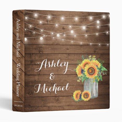 Rustic Sunflowers Mason Jar String Lights Wedding Binder