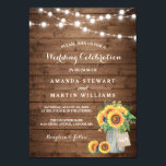 """Rustic Sunflowers Mason Jar String Lights Wedding Invitation<br><div class=""""desc"""">Create the perfect invite with this &quot;Rustic Wood Sunflowers Mason Jar String Lights Wedding Invitation&quot; template. This high-quality designs is easy to customize to be uniquely yours! (1) For further customization, please click the &quot;customize further&quot; link and use our design tool to modify this template. (2) If you prefer Thicker...</div>"""
