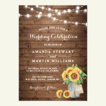 Rustic Sunflowers Mason Jar String Lights Wedding Invitation