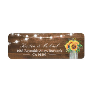 Rustic Sunflowers Mason Jar String Lights Wood Label