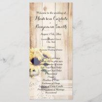 Rustic Sunflowers Mason Jar Wedding Programs