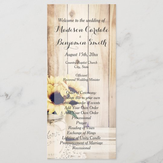 Rustic Sunflowers Mason Jar Wedding Programs