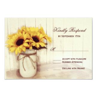 "Rustic Sunflowers Mason Jar Wedding RSVP Cards 3.5"" X 5"" Invitation Card"