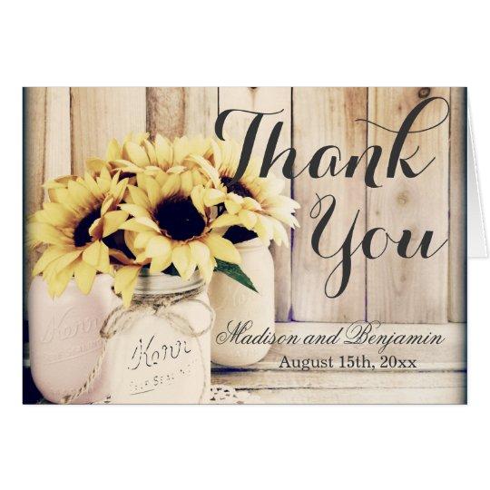 Rustic Sunflowers Mason Jar Wedding Thank You Card