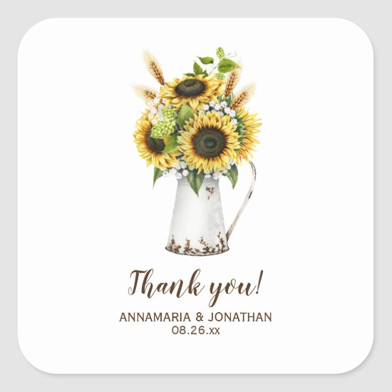 Rustic Sunflowers Metal Pitcher Wedding Thank You Square Sticker