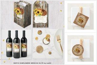Rustic Sunflowers Monogram