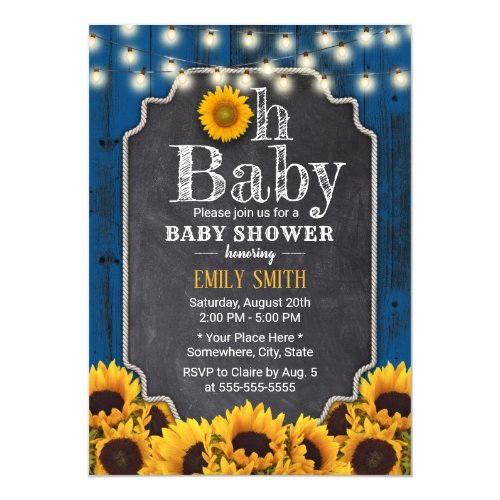 Rustic Sunflowers Navy Blue Barn Baby Shower Invitation