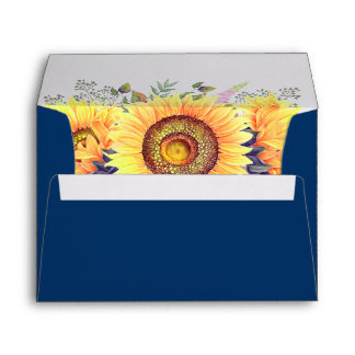Rustic Sunflowers Navy Blue & Return Address Envelope