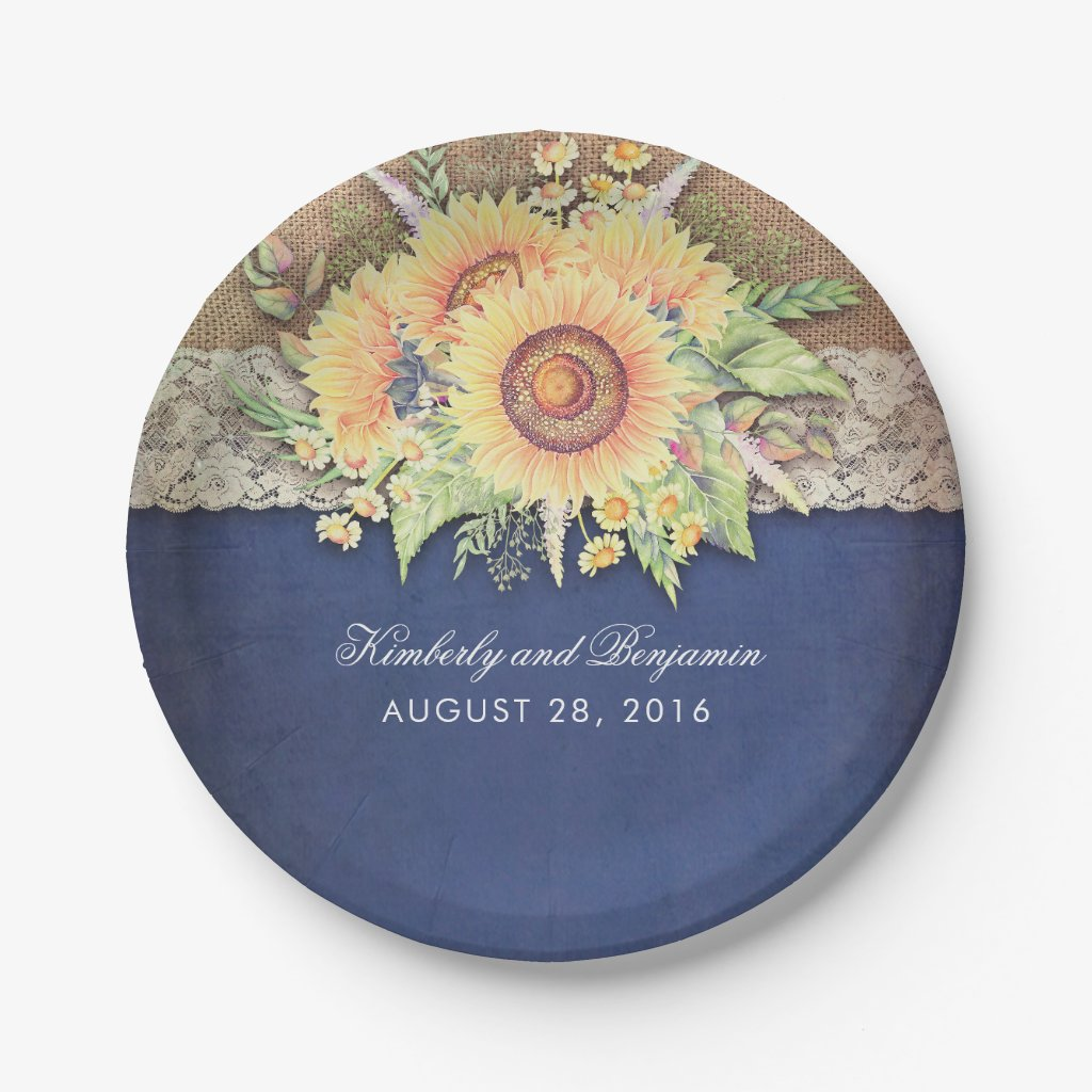 Burlap and Lace Rustic Sunflower Navy Blue Wedding Paper Plates  sc 1 st  Rustic Wedding Invitations & Sunflower Wedding Invitations - Rustic Navy Blue Wedding Invitations