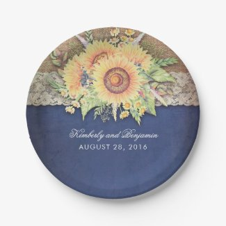 Burlap and Lace Rustic Sunflower Navy Blue Wedding Paper Plates