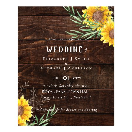 Rustic Sunflowers Olive Leaves Wedding Flyer