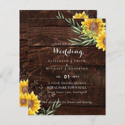 Rustic Sunflowers Olive Leaves Wedding Invite