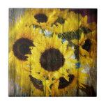 Rustic Sunflowers on Barnwood Ceramic Tile