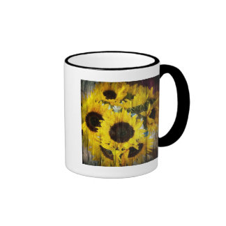Rustic Sunflowers on Barnwood Ringer Coffee Mug