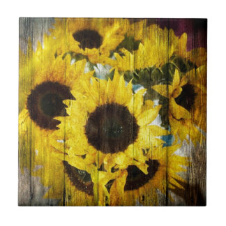 Rustic Sunflowers on Barnwood Small Square Tile