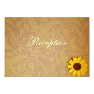 Rustic Sunflowers on Damask Wedding Invitation Set