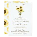 Rustic Sunflowers on Mason Jar Wedding Invitation