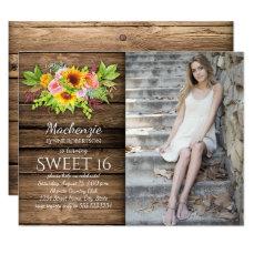 Rustic Sunflowers Peonies Barnwood Photo Sweet 16 Card