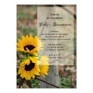 "Rustic Sunflowers Quinceanera Party Invitation 5"" X 7"" Invitation Card"