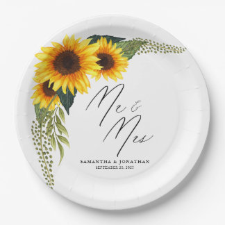 Rustic Sunflowers Script Mr. and Mrs. Wedding Paper Plate