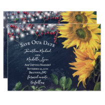 Rustic Sunflowers, Slate, Lights Save Our Date Invitation