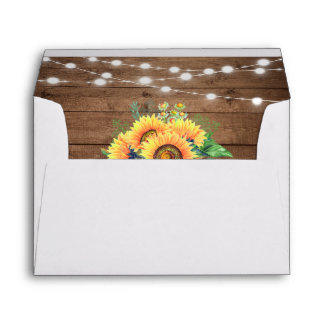 Rustic Sunflowers String Light Rustic Wood 5x7 Envelope