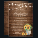 """Rustic Sunflowers String Lights Graduation Party Card<br><div class=""""desc"""">Create the perfect invite with this &quot;Rustic Wood Sunflowers Mason Jar String Lights Graduation Party Invitation&quot; template. This high-quality design is easy to customize to be uniquely yours! (1) For further customization, please click the &quot;Customize&quot; button and use our design tool to modify this template. All text style, colors, sizes...</div>"""