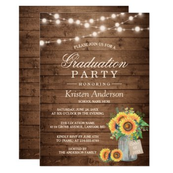 Rustic Sunflowers String Lights Graduation Party Card by CardHunter at Zazzle