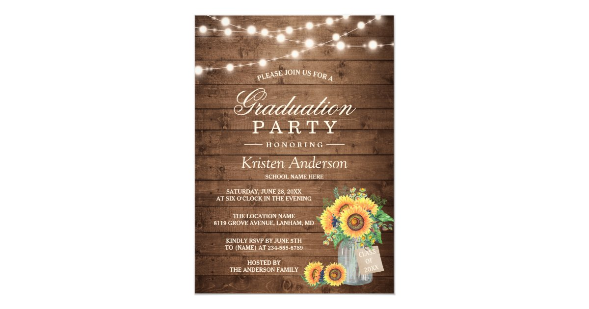 Rustic Sunflowers String Lights Graduation Party Card Zazzle.com