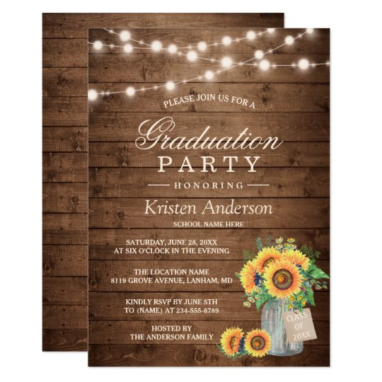 rustic sunflowers string lights graduation party invitation zazzle com