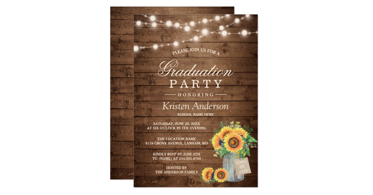Rustic Sunflowers String Lights Graduation Party Invitation