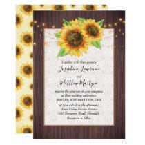 Rustic Sunflowers String Lights Lace Wedding Invitation