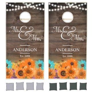 Rustic Sunflowers String Lights Mr Mrs Wedding Cornhole Set
