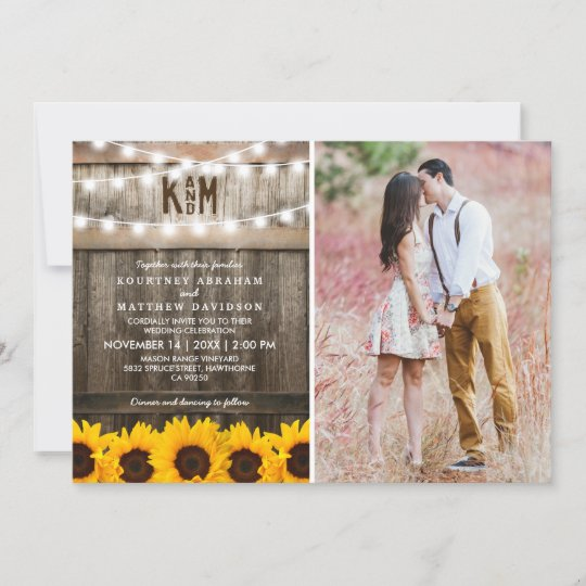 Rustic Sunflowers String Lights Photo Wedding Invitation