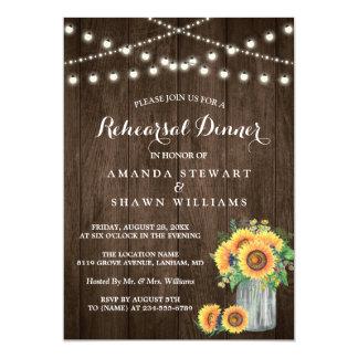 Rustic Sunflowers String Lights Rehearsal Dinner Card