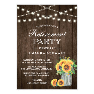 Retirement party invitations zazzle rustic sunflowers string lights retirement party card stopboris