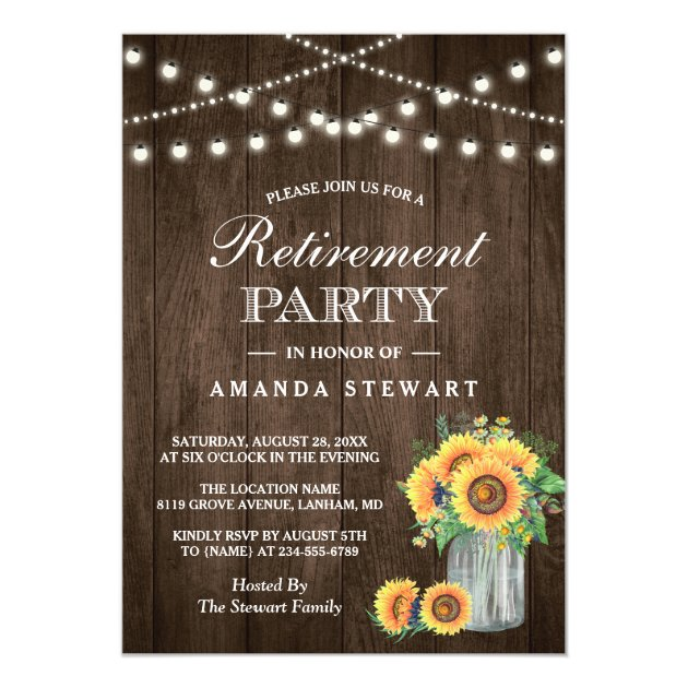 Rustic Sunflowers String Lights Retirement Party Card