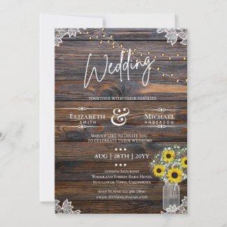 Rustic Sunflowers Strings Lights Invitation Weddin