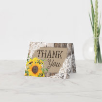 Rustic Sunflowers Thank You Card