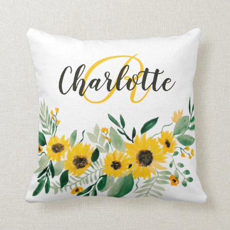 Rustic sunflowers watercolor floral chic monogram throw pillow