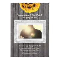 Rustic Sunflowers Weathered Wood Photo Wedding Card