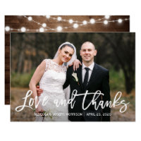 Rustic Sunflowers Wedding Photo Thank You Card