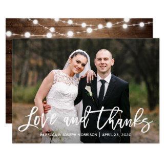 Rustic Sunflowers Wedding Photo Thank You Card