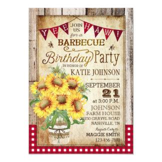 Rustic Sunflowers Wood Gingham Check Birthday Card