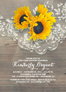 Sunflower baby shower invitations announcements zazzle rustic sunflowers wood lace baby shower invitation filmwisefo
