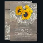 "Rustic Sunflowers Wood Lace Bridal Shower Card<br><div class=""desc"">Vintage lace and rustic sunflowers bouquet elegant barn bridal shower invitations</div>"