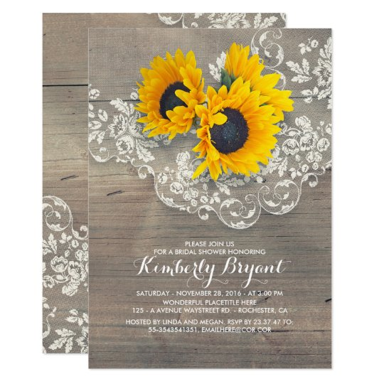 Rustic sunflowers wood lace bridal shower card zazzle rustic sunflowers wood lace bridal shower card filmwisefo