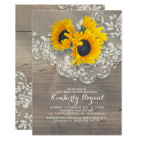 Rustic Sunflowers Wood Lace Bridal Shower Invitation