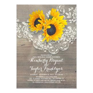 Rustic Sunflowers Wood Lace Rehearsal Dinner Invitation