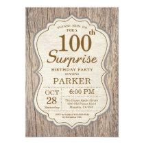 Rustic Surprise 100th Birthday Invitation Wood
